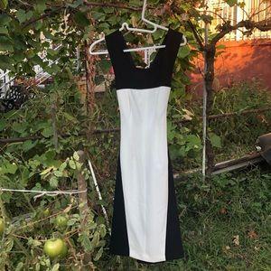 BCBG Color Block Dress Black & White Cross Back